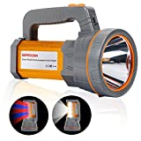 Super Bright Rechargeable Handheld LED Spotlight Flashlight High Lumens Powered CREE Searchlight Large Battery 10000 mah Long Lasting Torch, Side Floodlight Camping Lantern Work Light USB Charge Phone