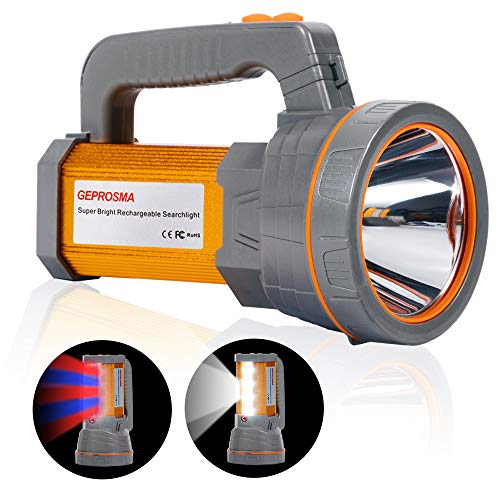 - Super Bright Rechargeable LED Handheld Spotlight Flashlight High Lumens Powered CREE Searchlight Large Battery 10000 mah Long Lasting Torch, Side Floodlight Lantern Work Light USB Charges Phone