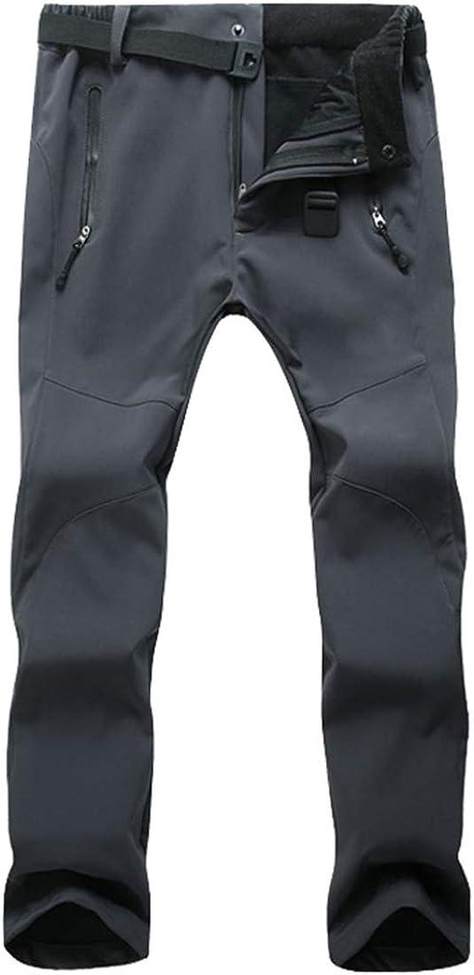 GWELL Herren Damen Funktionshosen Warm Softshellhose mit Fleece Wasserdicht Winddicht Outdoor Trekkinghose Wanderhose Skihose
