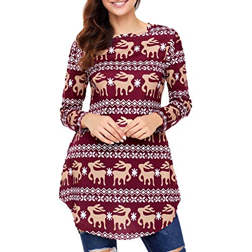 AIMTOPPY Ladies Christmas Snowflake Print Arc Hem Long Sleeve Top