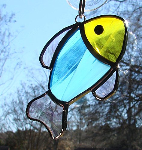 Handmade Yellow and Sky Blue Tropical Fish Stained Glass Ornament Sun Catcher - Stained Glass Fish