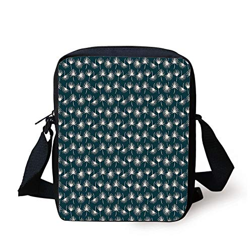 Teal,Abstract Natural Foliage Pattern in White Dandelion Silhouettes Spring Garden Meadow,Teal White Print Kids Crossbody Messenger Bag Purse