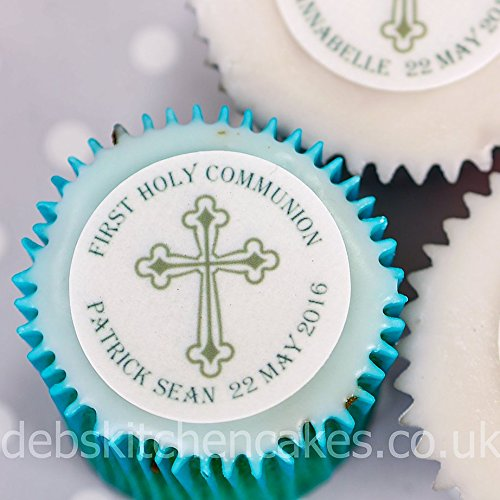 Holy Communion Personalised Cupcake Toppers - Icing or Wafer (Icing) by Debs Kitchen Cakes