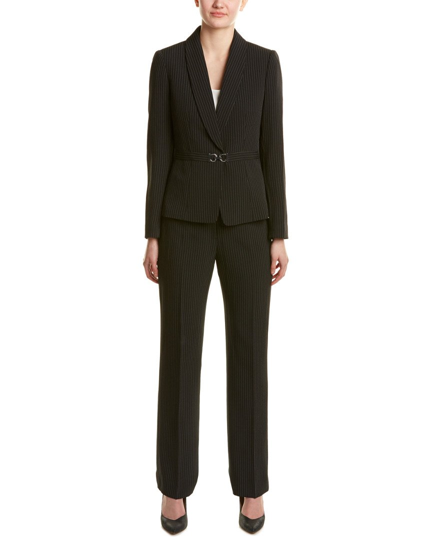 Tahari by Arthur S. Levine Women's Pinstripe Pant Suit with Turnlock Closure, Black/Ivory, 12