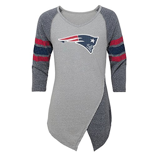 Outerstuff NFL New England Patriots Juniors Lavish Crossover Asymmetric Hem Top, Heather Grey, Juniors -