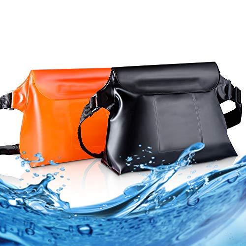 MCleanPin Larger Waterproof Pouch with 2 Inner Pockets, Snowproof Lightweight Fanny Pack 2PK, Dirtproof Dry Bag Adjustable Strap, for Swimming,Kayaking,Snorkeling,Boating,Skating(Orange&Black)