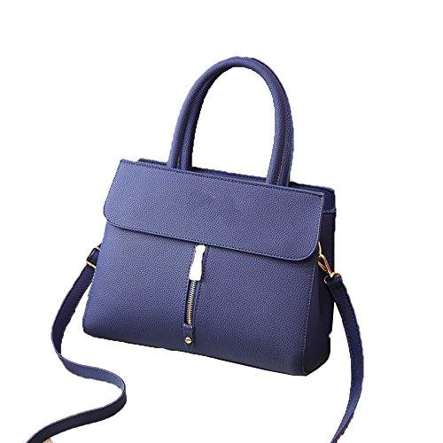 ZM-bag 2018 Nuevo Bolso De La Manera Ms Bolso Pure Color PU Lady Bags Bolsos De Hombro Diagonales Finos Azul