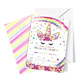 Partico Magical Unicorn Party Invitations with Envelopes for Kids Birthday Baby Shower Party Supplies 24 Pieces of Fill-in Blank Invitation Card Kit