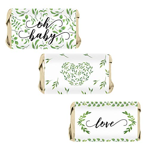 - Greenery Baby Shower Mini Candy Bar Wrappers, 54 Stickers