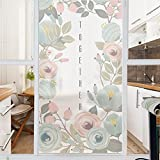 AmazingWall Floral Window Film Sticker Quote Together Frosted Safety Stained Glass Protective Suit for Home Office 22.8x70.9