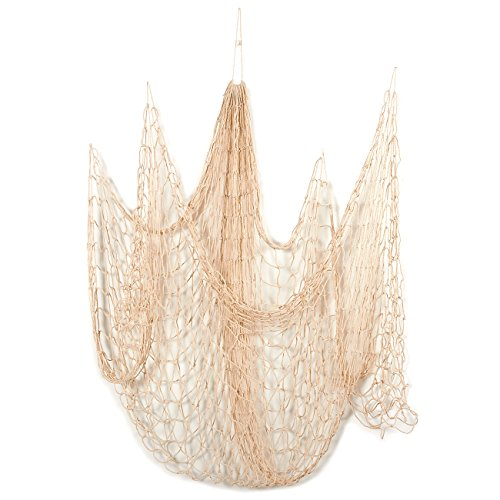 Blue Panda Decorative Nautical Fish Netting - Nautical Decor Cotton Sea Net for Sea, Beach, Fishing Theme Party, Mediterranean Style Fish Net Home Decorations - Beige, 79 x 60 Inches -