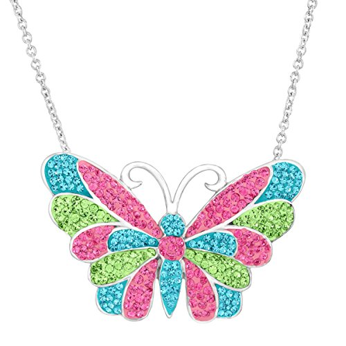 Crystaluxe Butterfly Pendant with Pink, Blue and Green Swarovski Crystals in Sterling Silver, 18
