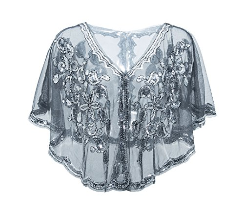 Metme Vintage Women 1920s Gatsby Theme Flapper Cover Ups Sequin Cape Evening Wrap,Black/silver,One Size