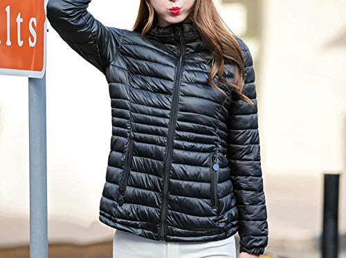 Jacket Light Short Weight Padded Black Packable Puffer Women LaoZanA Collar Casual Quilted Coat Ultra Standing pYnwxIn8qg