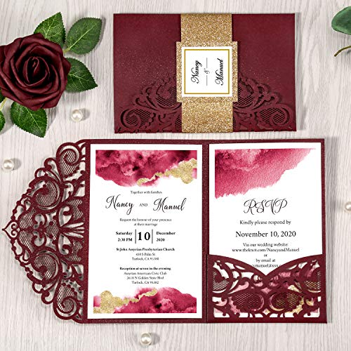 DORIS HOME 4.7×7 Inch 50PCS Blank Burgundy Laser Cut Wedding Invitations With Envelopes Kit Hollow Heart Shape Pocket With Gold Glitter Belly Band Wedding Invitation Cards For Wedding Invite