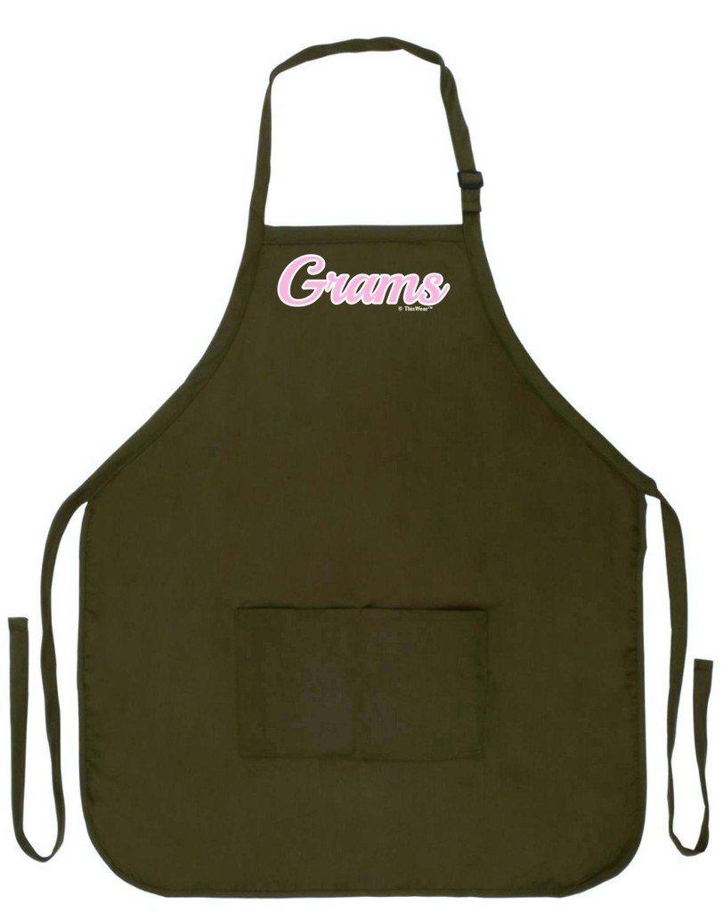 母の日ギフトグラムスクリプトエプロンfor Cooking Baking Craftingガーデニング2つのポケットエプロンまたはおばあちゃんMom  Military Olive Green B00XZ12WS4