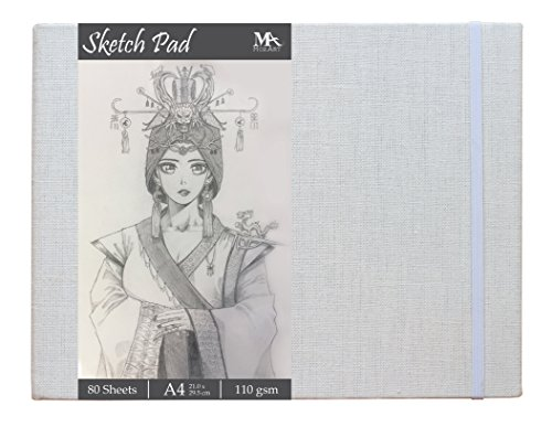 Sketch Pad - Size 8.5 x 11.0 inches - 80 sheets Sketch Papers - Linen bound hardback - Ideal for Drawing, Sketching, Journaling - MozArt Supplies