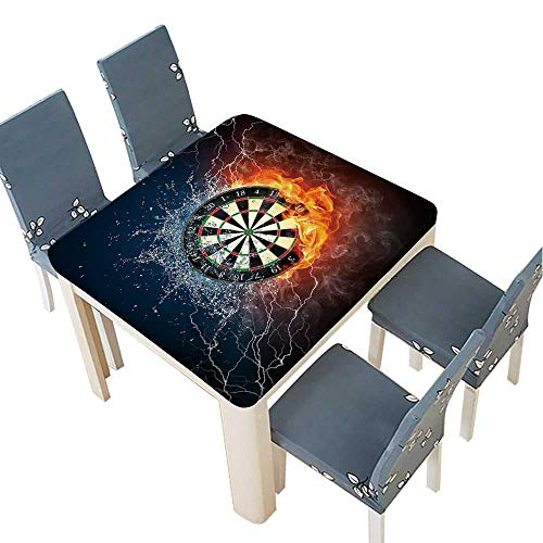 (PINAFORE Jacquard Polyester Fabric Tablecloth Darts Board in Fire and Water Isolated on Black Background. Summer & Outdoor Picnics 61 x 61 INCH (Elastic Edge))
