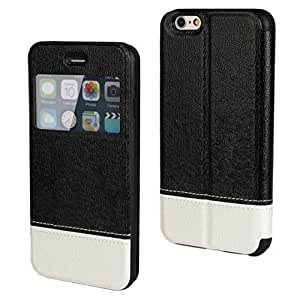 CHSH Cover para Apple iPhone 6 4.7 inch Monedero Funda de Cuero Ultra-delgado cáscara con despertador Ventana Vista Smart soporte Negro Blanco