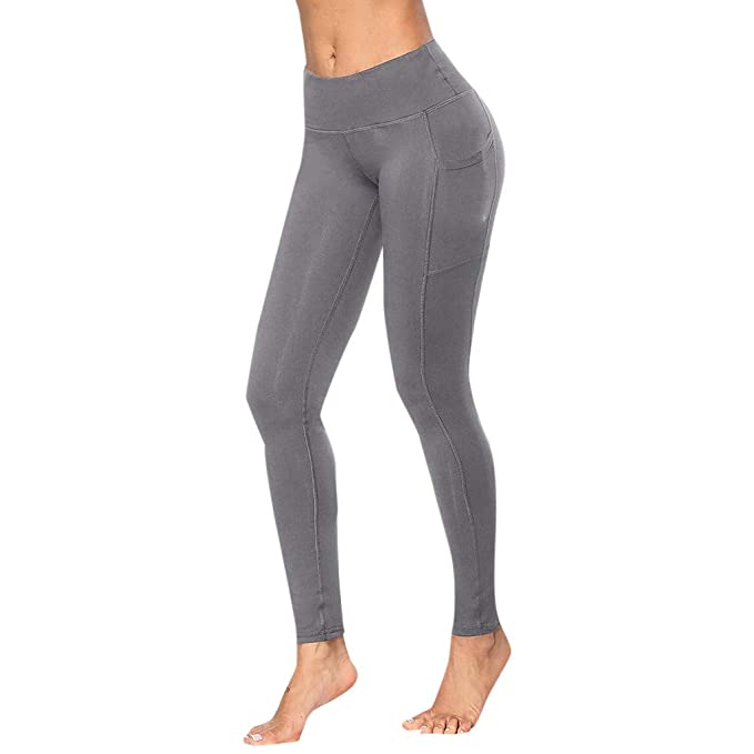 Damen Stretch Leggings Sporthose Hohe Taille Fitnesshose Sport Jogging Leggins P