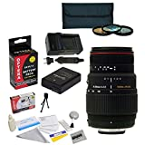 Sigma 70-300mm f/4-5.6 DG Macro Lens Kit for the Nikon D3100, D3200, D3300, D5100, D5200, D5300 - Includes 3 Piece Pro Filter Kit (UV, CPL, FLD) + Replacement Battery Pack for the Nikon EN-EL14 1800MAH + 1 Hour AC/DC Battery Charger + Deluxe Lens Cleaning