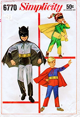 Simplicity 6770 Boys Batman, Robin, Superman Costumes Sewing Pattern Childs Size 6-8 Medium for $<!---->