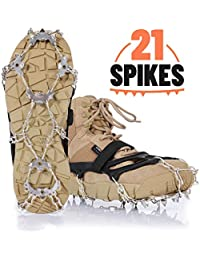 Crampons Ice Cleats Grips for Shoes Boots Ice Spikes with 21 Spikes Strong Band Double Safe Strap Heavy Duty Snow Cleats Spikes Shoe Grip Traction Cleats for Men Women Walking Hiking on Snow Ice