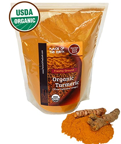 Organic Turmeric Root Powder (Curcumin) Ultra Pure USDA Certified Healthy Antioxidant Vegan Superfood Supplement 1 Pound Bulk Spice Package Fresh Harvested By Flavor Of The Earth by Flavor Of The Earth