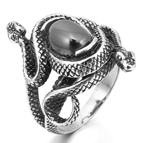 Silver Tone Black Agate (INBLUE Men's Stainless Steel Ring Simulated Agate Silver Tone Black Snake Hollow Openwork Size12)