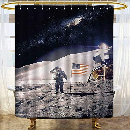 Space Shower Curtain Collection by Astronaut on Moon with Am