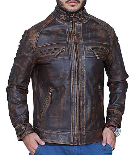 Leather Shop Cafe Racer Biker Diamond Classic Distressed Rub Off Brown Leather Jacket - Men Plus Size Brown Leather Jacket (S- Fit for 39-40 inches Actual Chest Size) (Diamond Diamond Brown Cafe)