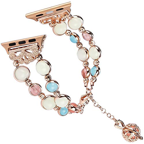 For Apple Watch Band 38mm, Tomazon Unique Luminous Night Pearl iWatch Bracelet Metal Link Adjustable Wristband with Perfume Storage Pendant for Women Girl - Rose Gold [Newest Released] by Tomazon
