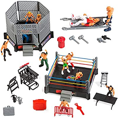 32 Piece Wrestling Playset for Kids WWE Wrestler Toys with Ring and Accessories