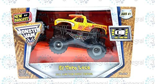 - New Bright RC Wireless Radio Control Monster Jam Truck Yellow El Toro Loco 1:43