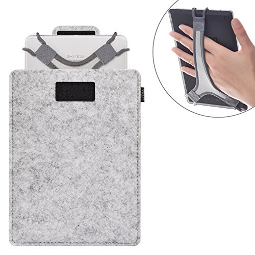 TFY Protective Carrying Pouch Bag (Grey), plus Bonus Hand Strap Holder for For 7 – 8 Inch Tablets - Fire 7
