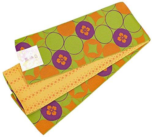 追記アクセス石の半幅帯 レディース 七宝 花菱模様 若草色 薄オレンジ リバーシブル 日本製 N2588