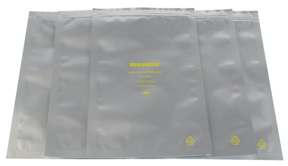 Dry-Packs 6 by 10-Inch Mylar Moisture Barrier Zipper Seal Recloseable Bag Pack of 10