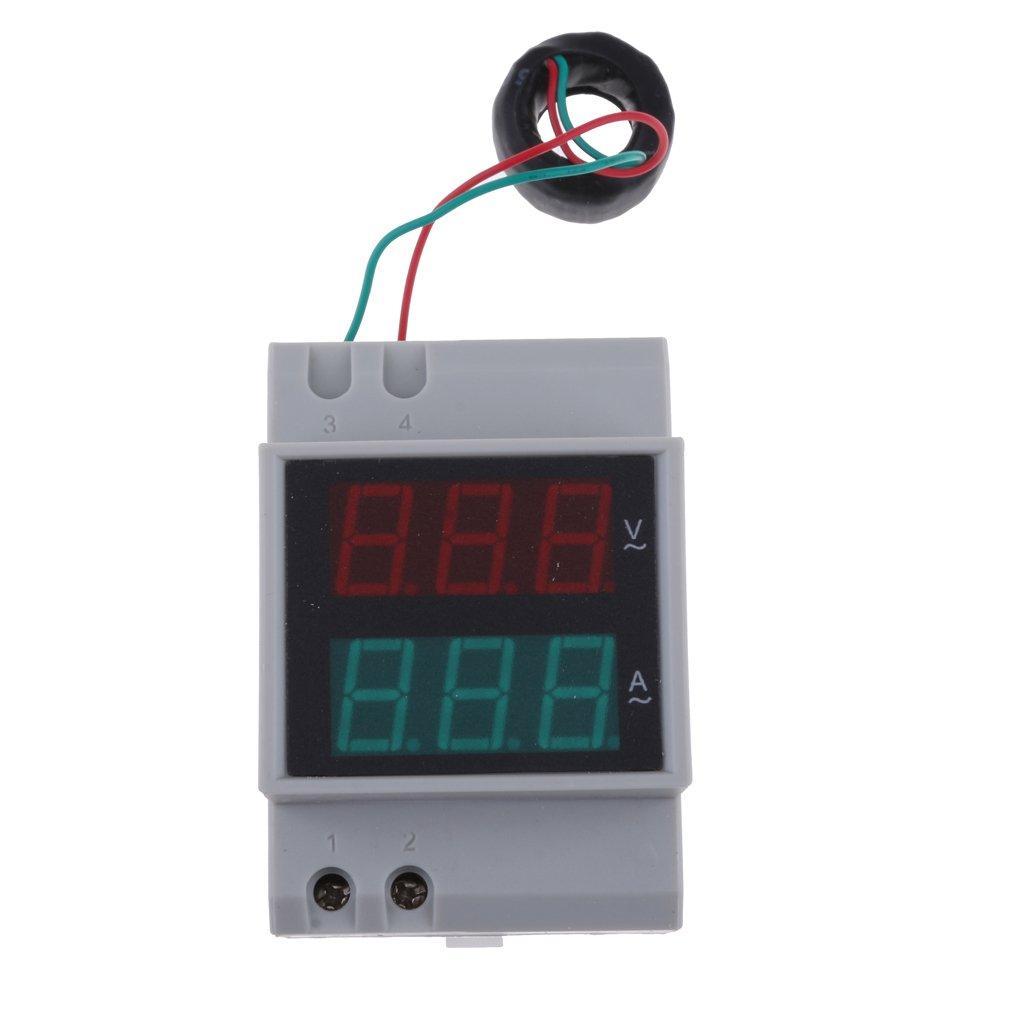 Prettyia D52-2042 AC Digit Din Rail Power Ammeter Voltmeter 0-100A Built-in 80-450V Power Factor Voltmeter Meter