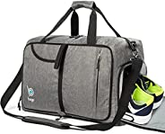Gym Bags for Women and Men - Small Packable Sports Duffle Bag for Women with Shoe Compartment and Wet Pocket