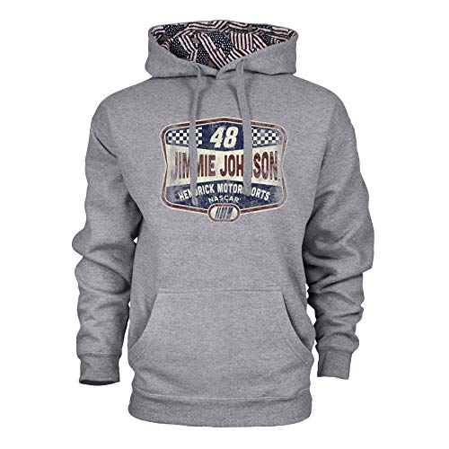 Ouray Sportswear NASCAR Hendrick Motorsports Jimmie Johnson Mens Benchmark Colorblock Pullover HoodBenchmark Colorblock Pullover Hood, Premium Heather/Flag, S