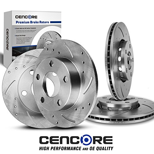 CENCORE [Front&Rear] Combo Brake Kit for Audi A4 Quattro/VW Passat 1996-2005 with 4 Drilled Slotted Disc Brake Rotors