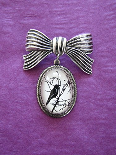(For the Love of Crows Brooch - pendant on bow pin )