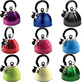 2.5L STAIINLESS STEEL LIGHTWEIGHT WHISTLING KETTLE CAMPING FAST BOIL FISHING NEW (PINK)