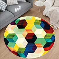 Nalahome Modern Flannel Microfiber Non-Slip Machine Washable Round Area Rug-mbus Pattern Grunge Effect Hexagonal Pattern Colorful Geometric Mosaic Artwork Multicolor area rugs Home Decor-Round 79