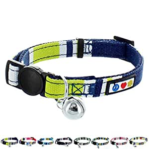 Pawtitas Pet Soft Adjustable Multicolor Cat Collar with Safety Buckle and Removable Bell Green / White / Blue