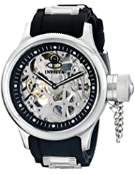 Invicta Mens 1088 Russian Diver Stainless Steel and Black Polyurethane Skeleton Watch