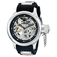 Men's 1088 Russian Diver Stainless Steel and Black Polyurethane Skeleton Watch