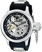 Invicta Men's 1088 Russian Diver Analog Display Stainless Steel and Black Polyurethane Skeleton Watch