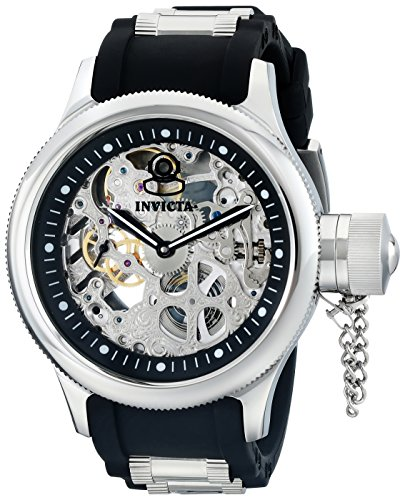 Invicta Men's 1088 Russian Diver Stainless Steel and Black Polyurethane Skeleton Watch by Invicta