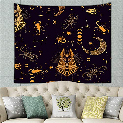 wrtgerht Egyptian god Anubis Scorpion Beauty Fashion Alchemy Religion Tapestry Wall Hanging, Wall Tapestry with Art Nature Home Decorations for Living Room Bedroom Dorm Decor 50ʺ × 60ʺ -
